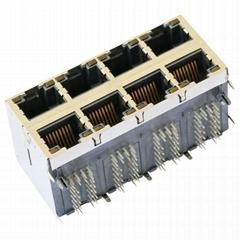 RM5-1C4A1K1A 2X4 RJ45 Magjack Connector Through Hole 10/100 Base-T, AutoMDIX