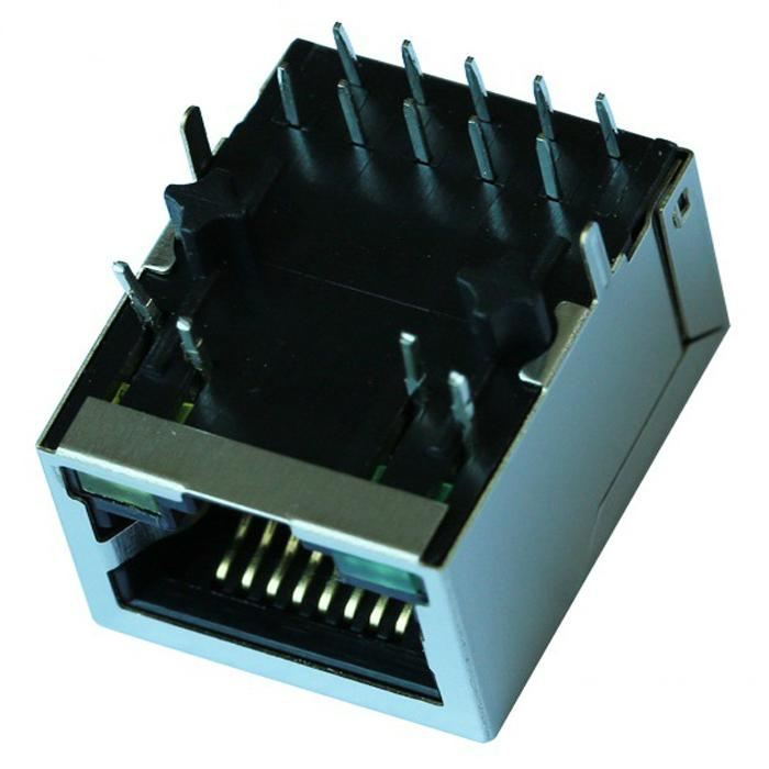 HY911130A   Single Port RJ45 Connector with Integrated Magnetics With led   Rohs