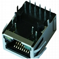 1840475 | Tyco Single Port RJ45 Connector with 1000 Base-T Integrated Magnetics