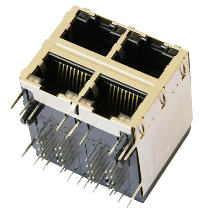 0879-2C2R-54 | 2X2 RJ45 Connector with 1000 Base-T Integrated Magnetics