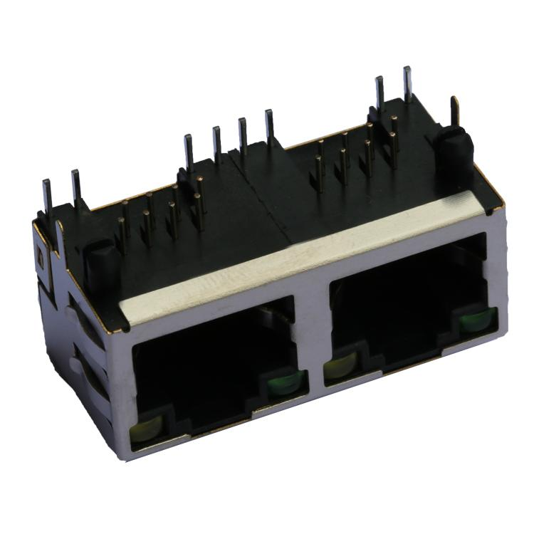 1-6610005-5   1X2 RJ45 Connector with 1000 Base-T Integrated Magnetics