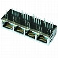 64F-1301GYD2NL 1X4 RJ45 Connector with 1000 Base-T Integrated Magnetics