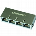 RTC-1S4AAK1A | 1X4 RJ45 Jacks Connector with 1000 Base-T Integrated Magnetics