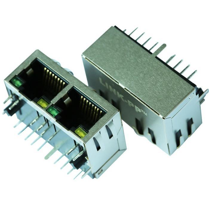 HFJ12-1G01ER-L12RL 1X2 8P8C RJ45 Connector with Gigabit Transformer