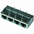 XMH-9774-T0I41D1-223 | 1X4 RJ45 Connector with 1000 Base-T Integrated Magnetics