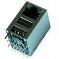 08C2-1X1T-03 | RJ45 Connector with 10/100M Integrated Magnetics With Dual USB