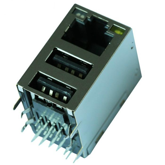 HY981141A | RJ45 Connector with 10/100 Base-T Integrated Magnetics With Dual USB