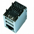 2-662000-2   Tyco 1 Port RJ45 with USB A, Dual Magjack Connector