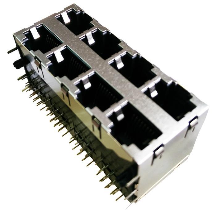 0833-2X4R-56-F 2X4 Port 10/100 Base-T RJ45 Magjack Connector
