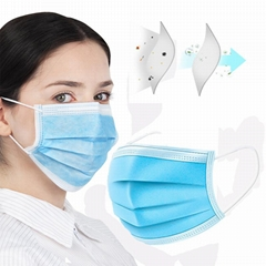 Factory Supply Earloop Pleated 3 Ply Procedure Disposable Non-Woven Face Mask