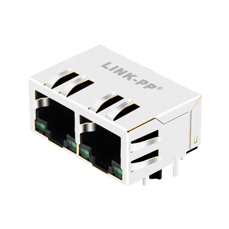 JX80-0019NL 10/100 Base-TX 1X2 Port RJ45 Magjack Connectors With LEDs
