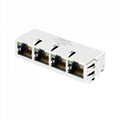 XFGIG8NA-CTGxu4-4M 1X4 8P8C RJ45 Connector with 1000 Base-T Integrated Magnetics