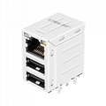 45F-10102DYD2NL | RJ45 With Dual USB Combo  applications LAN-on-Motherboard