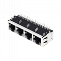 RTC-1S4AAK1A(XA) 1X4 RJ45 Modular Connector with 1000 Base-T Integrated Magnetic