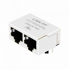 MOXIE MOX-RJ45-204G | 1X2 RJ45 Connector with 10/100 Base-T Integrated Magnetics
