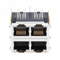 0879-2C2R-54 | 2X2 RJ45 Connector with 1000 Base-T Integrated Magnetics with EMI