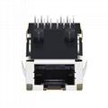 J0G-0007NL | Low Profile 1x1 10/100 Base-TX Tab-Up RJ45 Magjack Connector