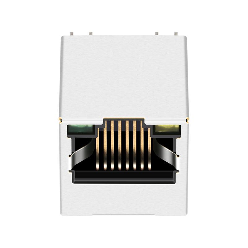 SI-46014-F | Vertical RJ45 Connector with Integrated Magnetics With Leds