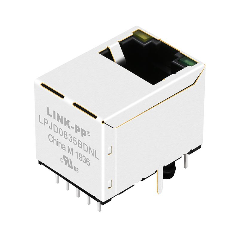 HR871190A   Vertical RJ45 Connector with 1000 Base-T Integrated Magnetics