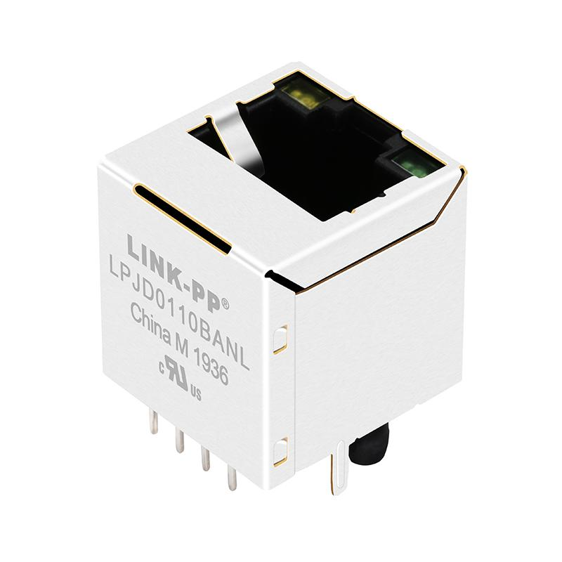 HY951180A Vertical RJ45 Connector with 10/100 Base-T Integrated Magnetics