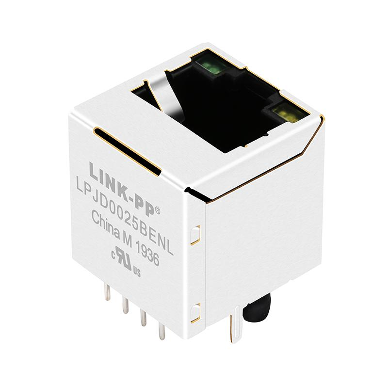 51F-1204GYD2NL Vertical RJ45 Connector with 10/100 Base-T Integrated Magnetics