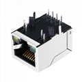 J00-0063NL 10/100 Base-TX 1x1 Port Tab-Down RJ45 Integrated Magnetics Connector