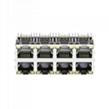0833-2X4R-56-F 2X4 ports 10/100 Base-T Stacked RJ45 Magjack Connector