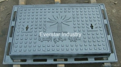 Rectangular manhole cover and frame