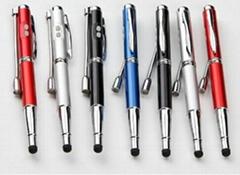 5合1多功能电容笔 红激光触控笔 UV验钞灯触摸屏手写笔