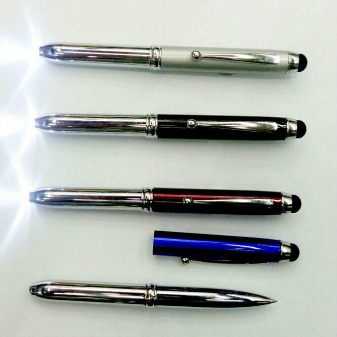 3 In 1 Metal LED Light Ball Pen With Stylus Touch For Smartphone Tablets 2