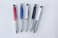 金属iphone 手写笔 多功能触摸笔带LED发光功能 3合1触屏笔