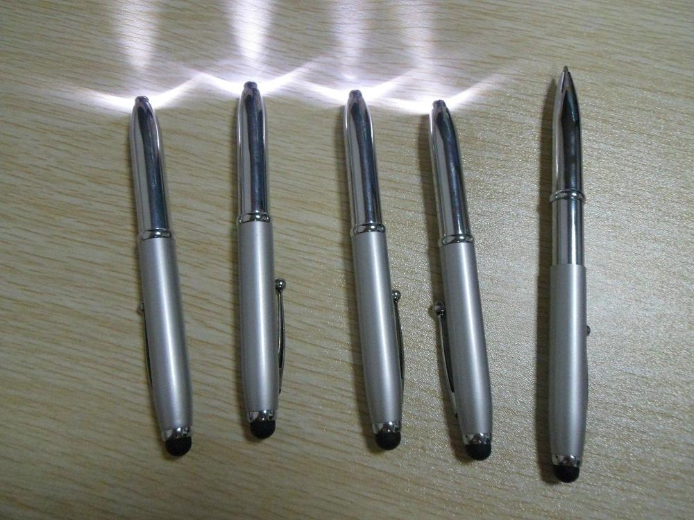 3 In 1 Metal LED Light Ball Pen With Stylus Touch For Smartphone Tablets 5