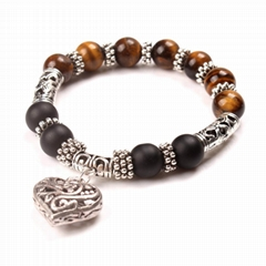 Colorful beads alloy Heart Pendant Bracelete