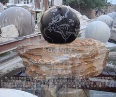 手工雕刻石雕噴泉風水球