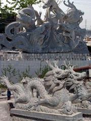 手工雕刻石雕九龍壁