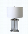nickel metal and glass table lamp