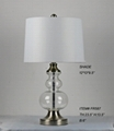 nickel cheap metal and glass table lamp