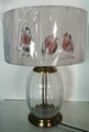 Glass table lamp with printed shade