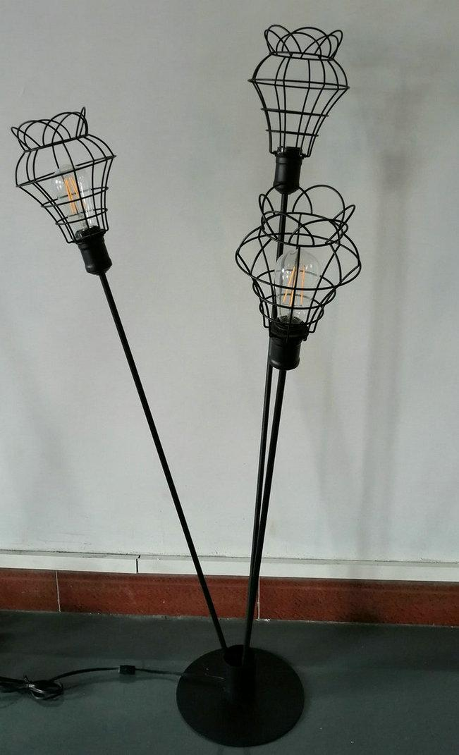 metal floor lamp with black cage shade 1