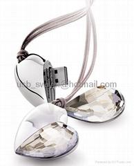 crystal heart shape usb drive