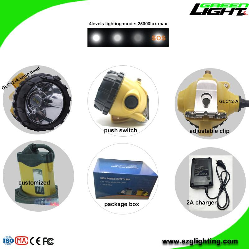 25000 Lux Mining Headlamp with Cable Flashlight Low Power Warning High Safety  3