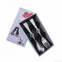 情侶餐具鏤空心型勺套裝