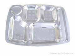 不锈钢五格餐盘
