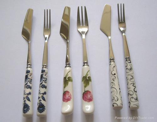 陶瓷柄月餅刀叉 1