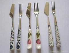 陶瓷柄月餅刀叉