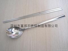 不锈钢韩式扁勺筷