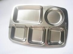 304不锈钢大五格快餐盘