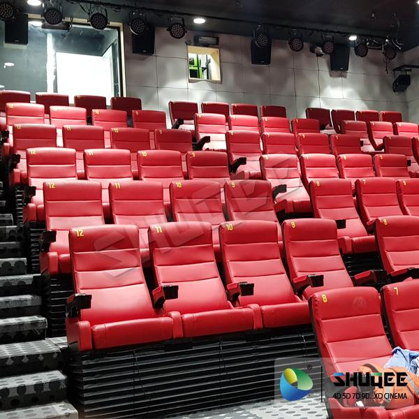 Black 4D Movie Theater Chair Play 3D Films, 4D seats With Sweep Leg And Push Bac 2