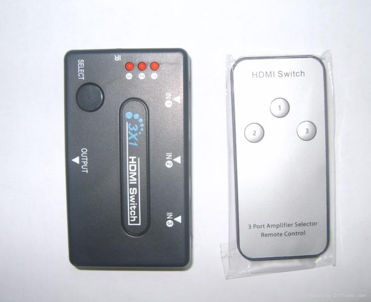 3*1 HDMI 切换器(带遥控)塑壳  1