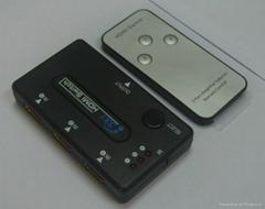 廠家直銷3進1出HDMI切換器(帶遙控)塑殼